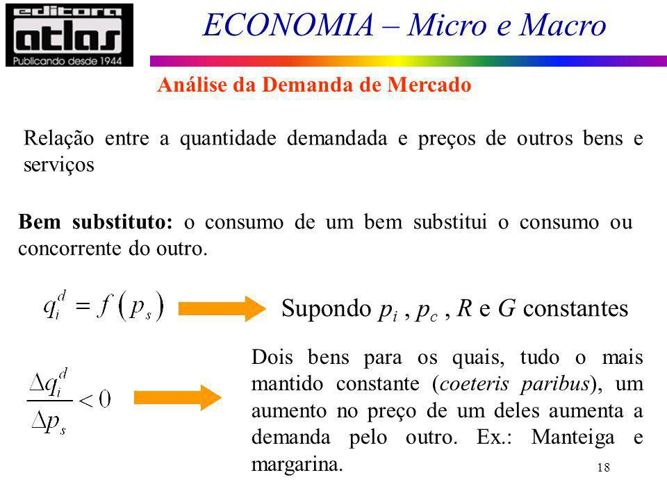 Supondo pi , pc , R e G constantes