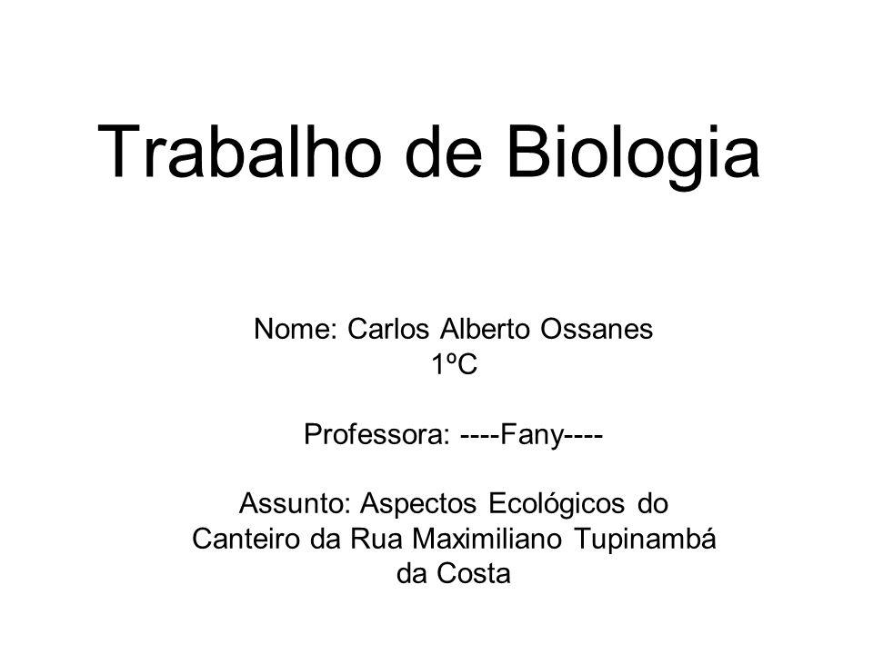 Trabalho de Biologia Nome: Carlos Alberto Ossanes 1ºC