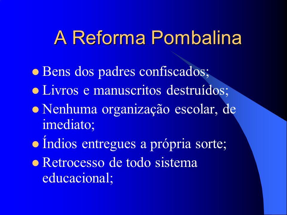 A Reforma Pombalina Bens dos padres confiscados;
