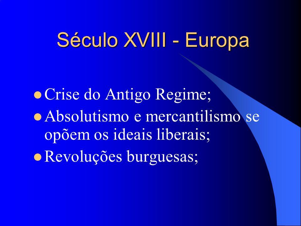 Século XVIII - Europa Crise do Antigo Regime;