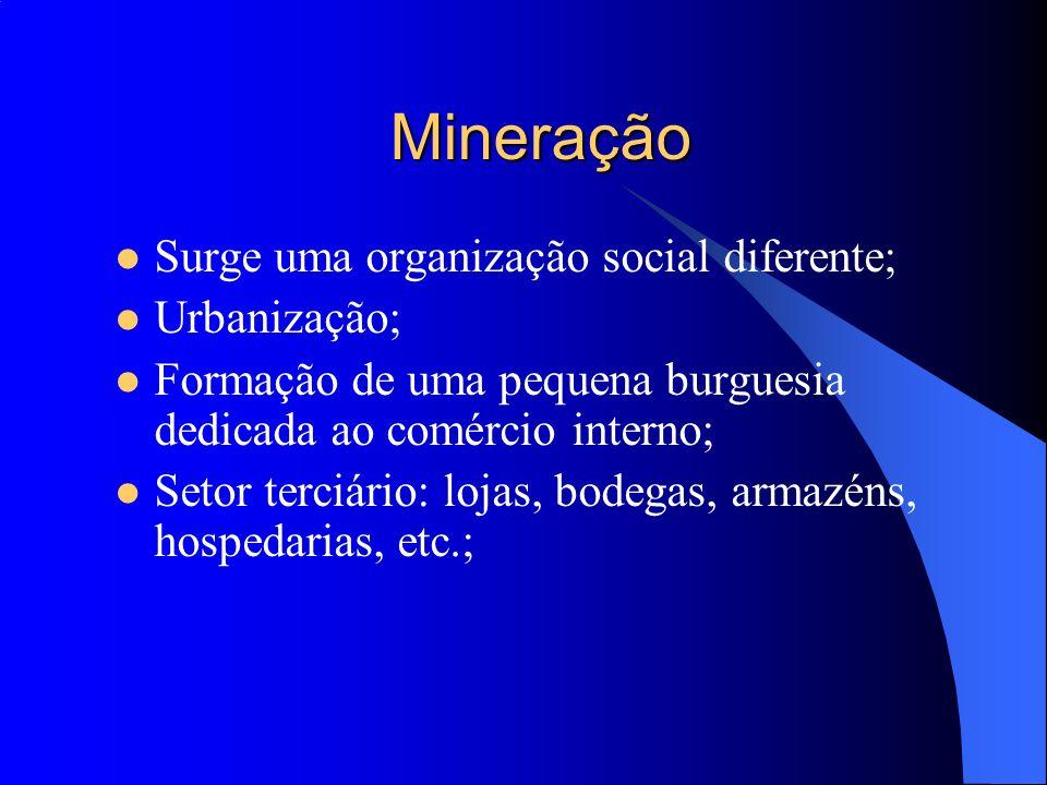 Mineração Surge uma organização social diferente; Urbanização;