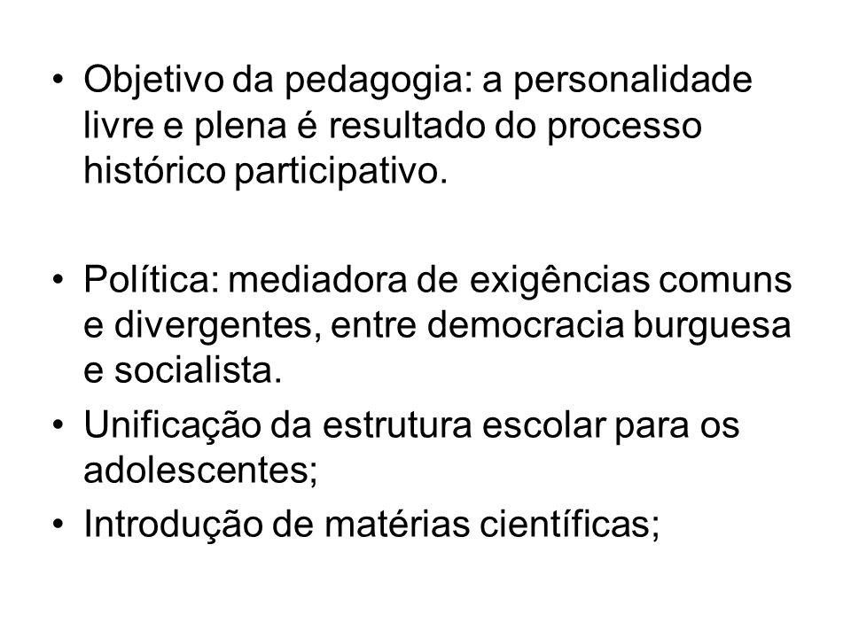 Objetivo da pedagogia: a personalidade livre e plena é resultado do processo histórico participativo.