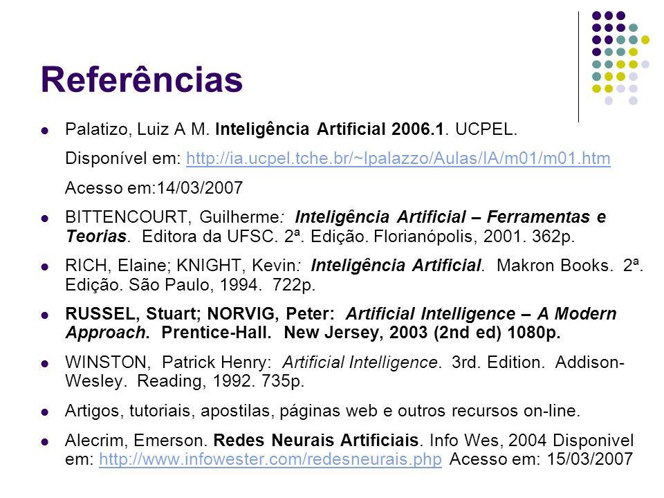 Referências Palatizo, Luiz A M. Inteligência Artificial 2006.1. UCPEL.