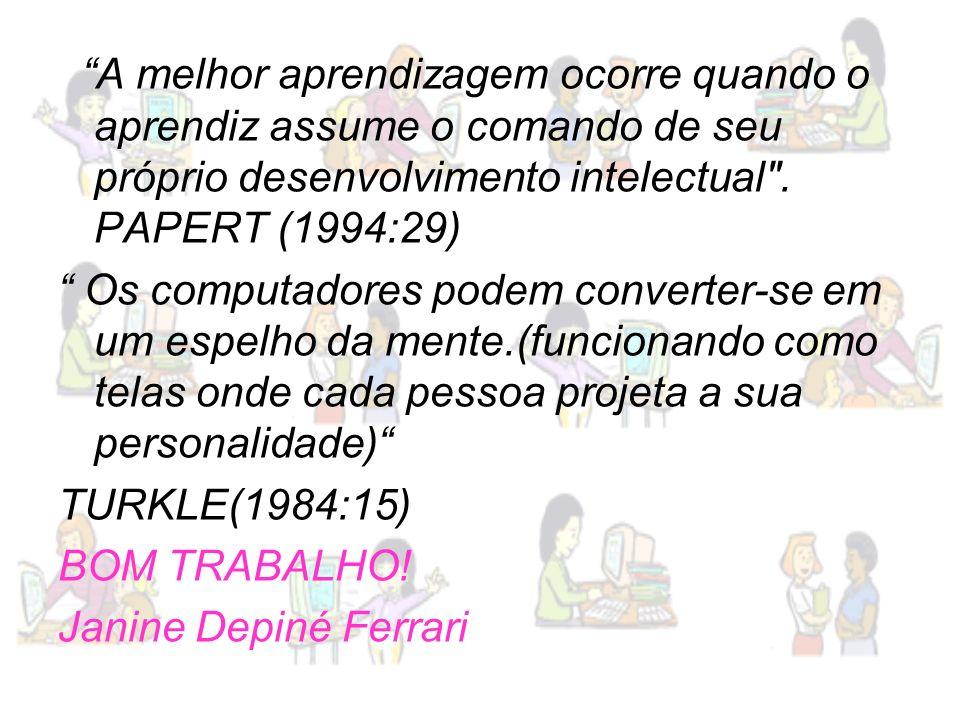 A melhor aprendizagem ocorre quando o aprendiz assume o comando de seu próprio desenvolvimento intelectual . PAPERT (1994:29)