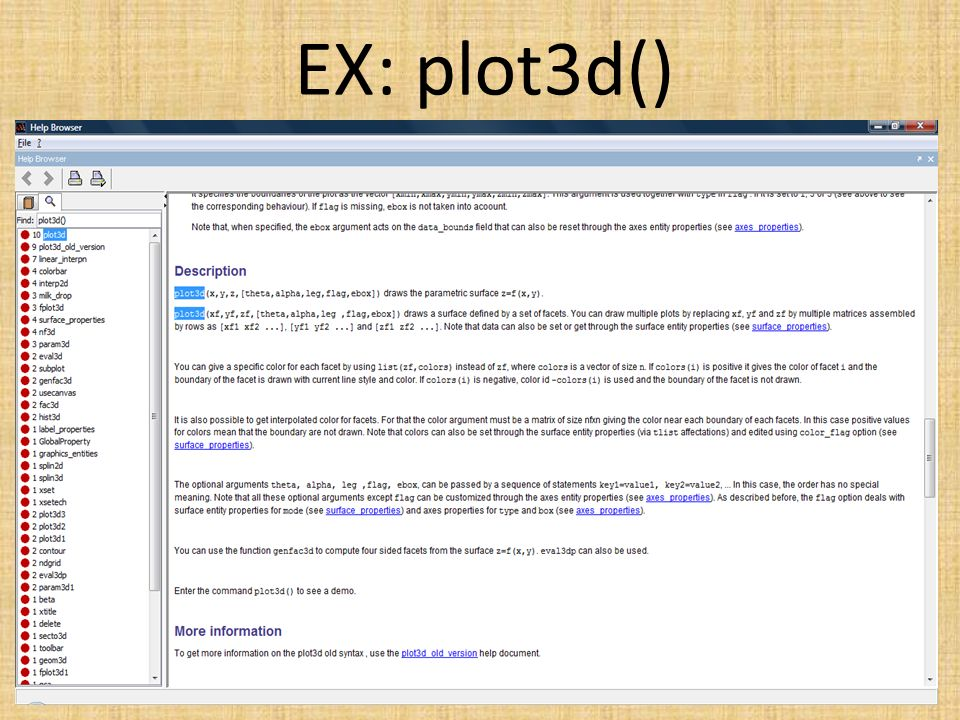 EX: plot3d()