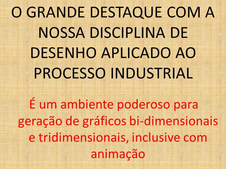 O GRANDE DESTAQUE COM A NOSSA DISCIPLINA DE DESENHO APLICADO AO PROCESSO INDUSTRIAL