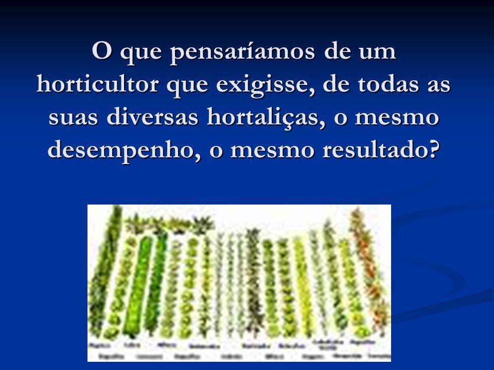 O que pensaríamos de um horticultor que exigisse, de todas as suas diversas hortaliças, o mesmo desempenho, o mesmo resultado