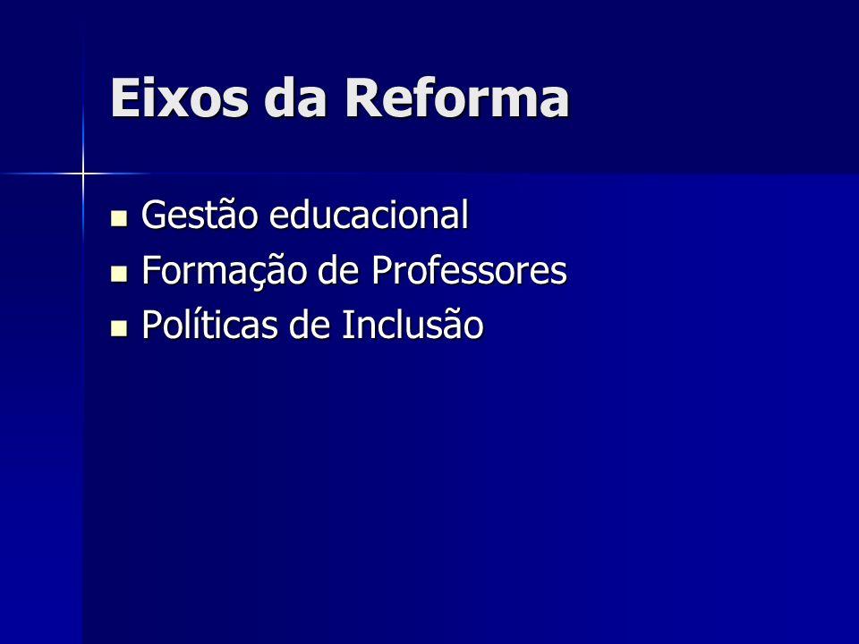 Eixos da Reforma Gestão educacional Formação de Professores