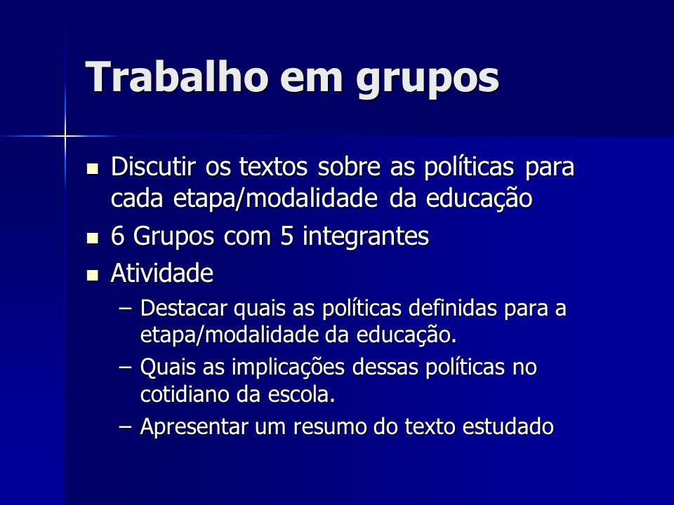 Trabalho em grupos Discutir os textos sobre as políticas para cada etapa/modalidade da educação. 6 Grupos com 5 integrantes.
