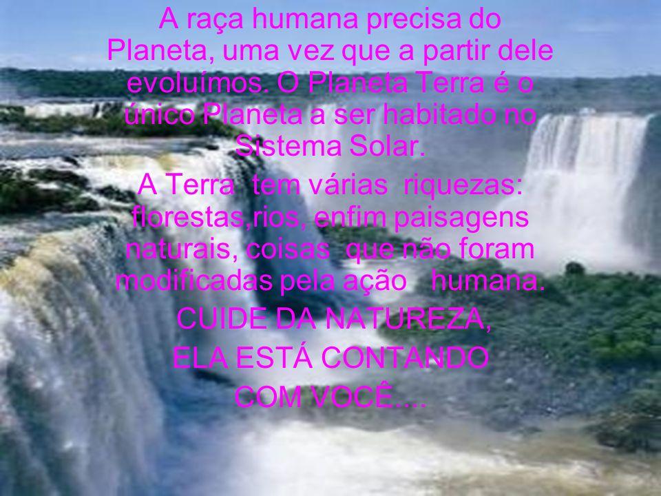 A raça humana precisa do Planeta, uma vez que a partir dele evoluímos