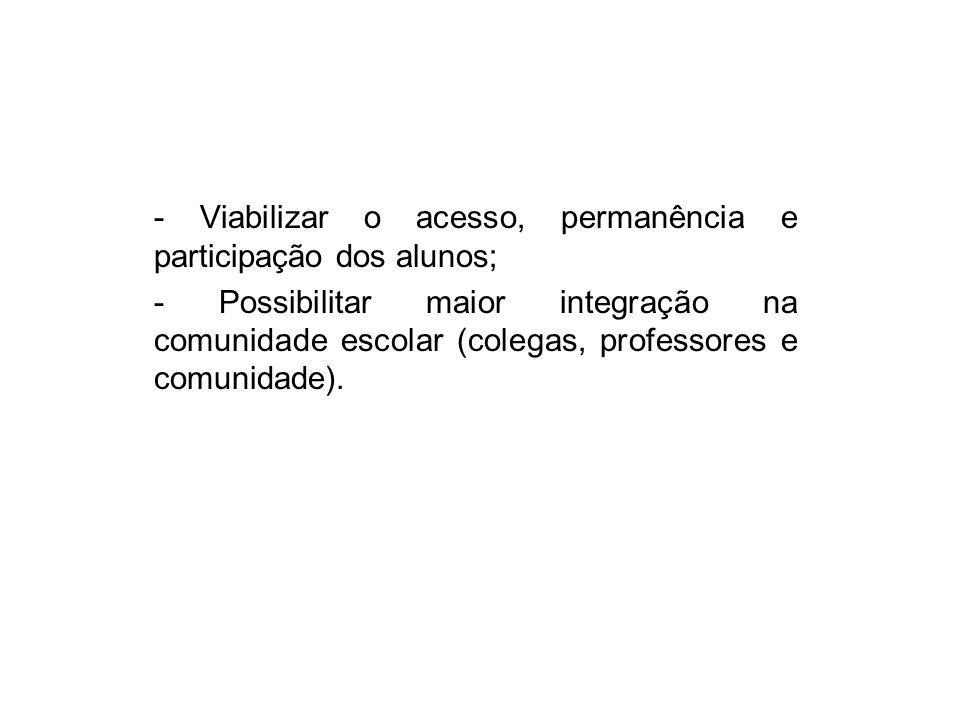 - Viabilizar o acesso, permanência e participação dos alunos;