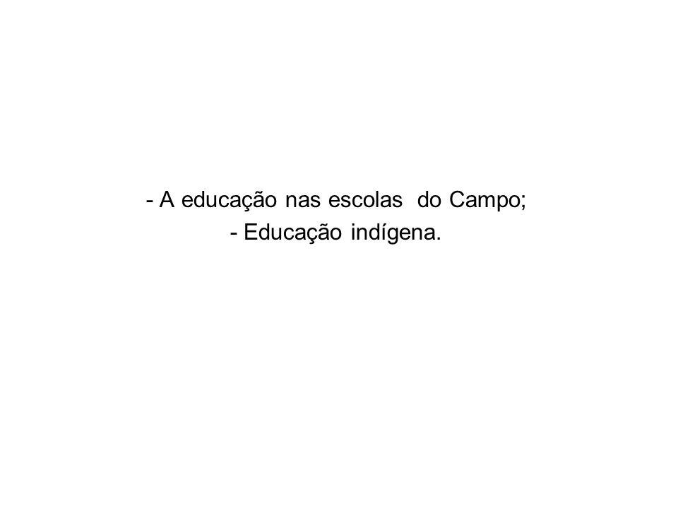 - A educação nas escolas do Campo; - Educação indígena.