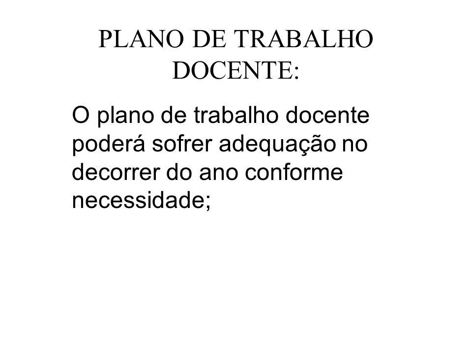 PLANO DE TRABALHO DOCENTE:
