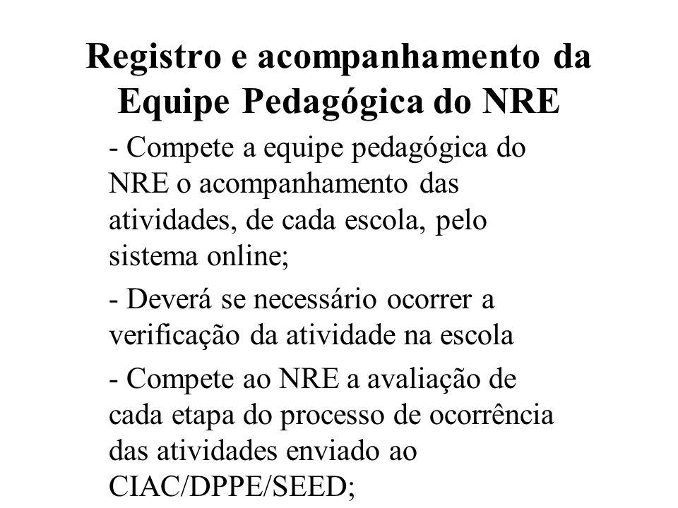 Registro e acompanhamento da Equipe Pedagógica do NRE