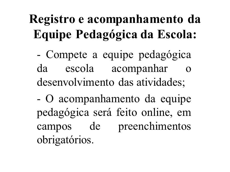Registro e acompanhamento da Equipe Pedagógica da Escola: