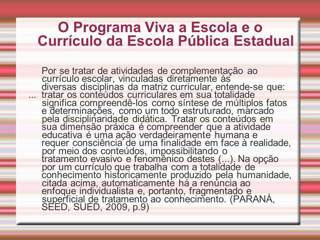 O Programa Viva a Escola e o Currículo da Escola Pública Estadual