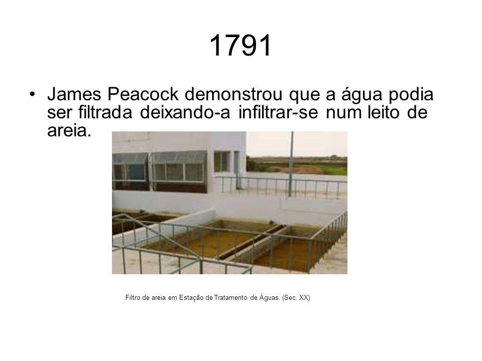 1791 James Peacock demonstrou que a água podia ser filtrada deixando-a infiltrar-se num leito de areia.