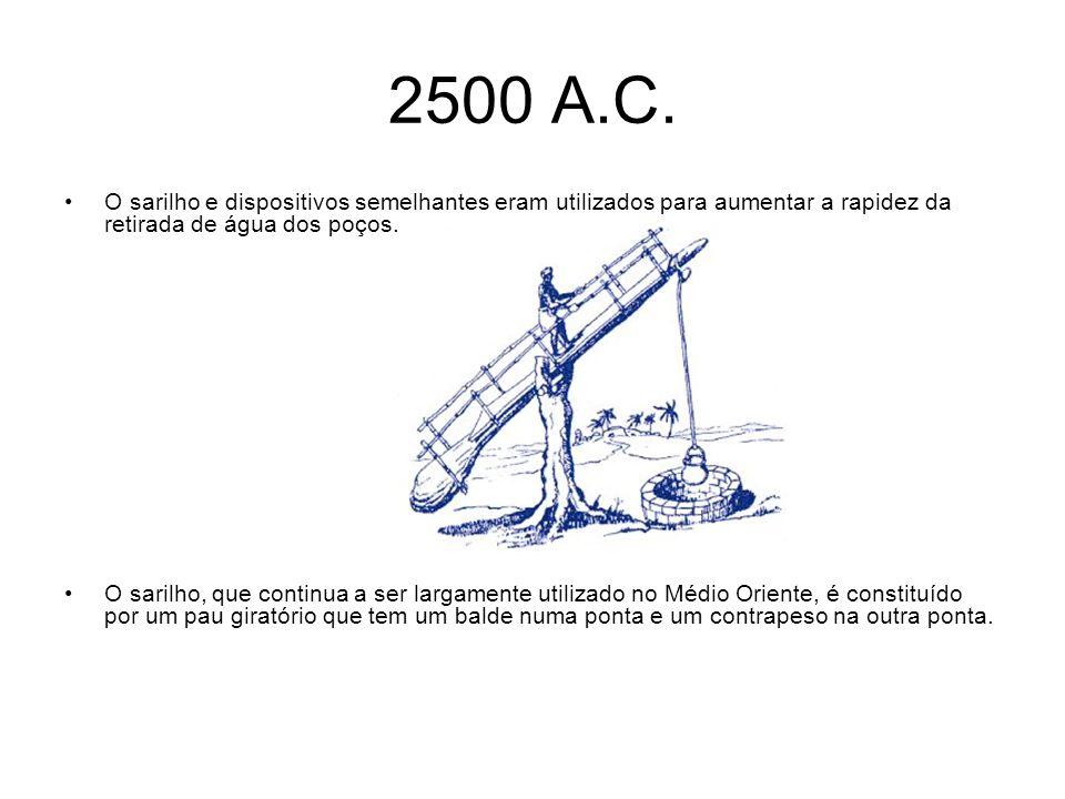 2500 A.C. O sarilho e dispositivos semelhantes eram utilizados para aumentar a rapidez da retirada de água dos poços.