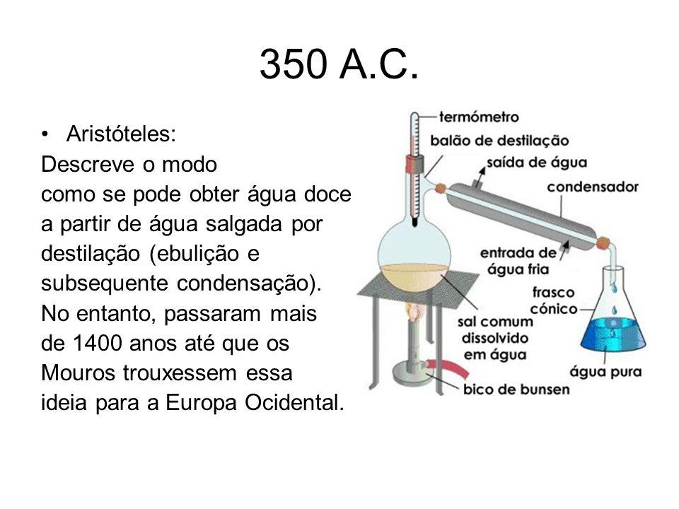 350 A.C. Aristóteles: Descreve o modo como se pode obter água doce