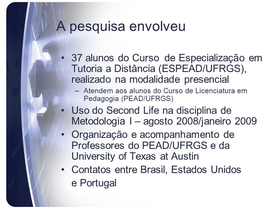 A pesquisa envolveu 37 alunos do Curso de Especialização em Tutoria a Distância (ESPEAD/UFRGS), realizado na modalidade presencial.