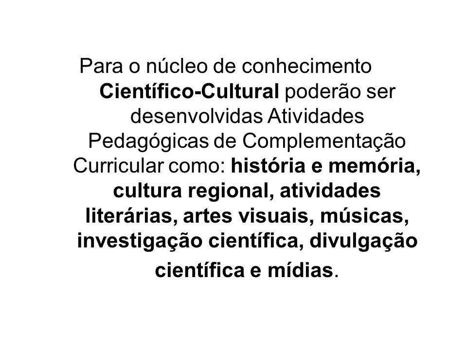 Para o núcleo de conhecimento Científico-Cultural poderão ser desenvolvidas Atividades Pedagógicas de Complementação Curricular como: história e memória, cultura regional, atividades literárias, artes visuais, músicas, investigação científica, divulgação científica e mídias.