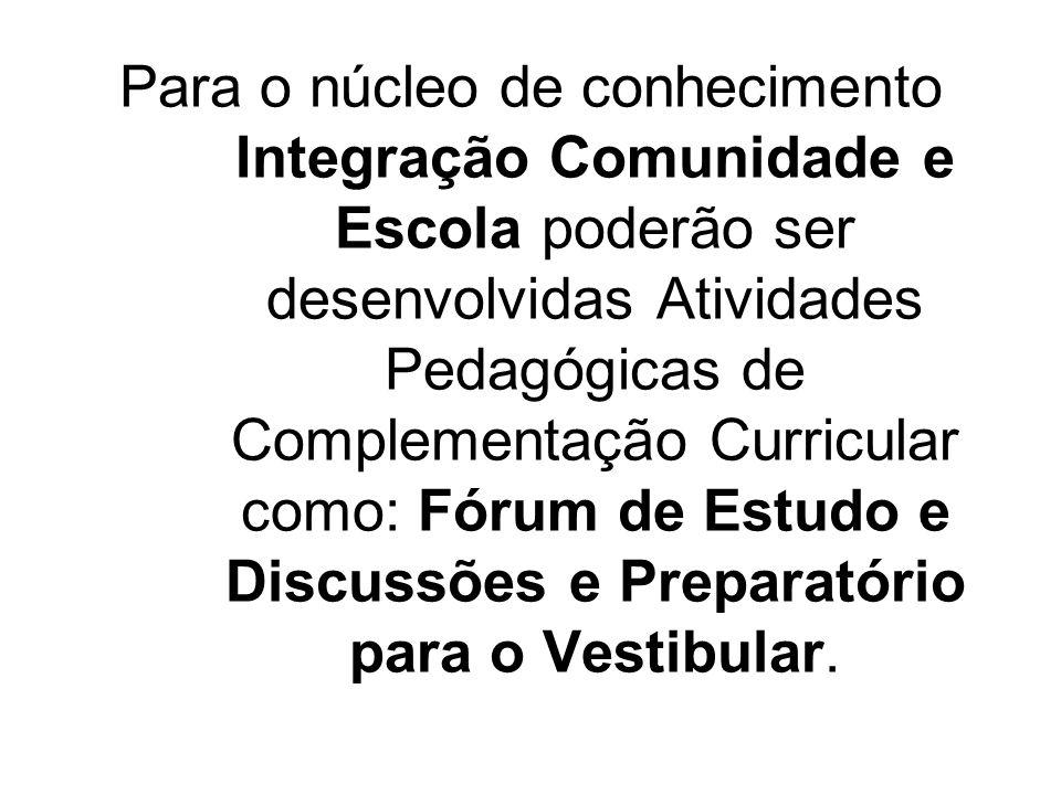 Para o núcleo de conhecimento Integração Comunidade e Escola poderão ser desenvolvidas Atividades Pedagógicas de Complementação Curricular como: Fórum de Estudo e Discussões e Preparatório para o Vestibular.