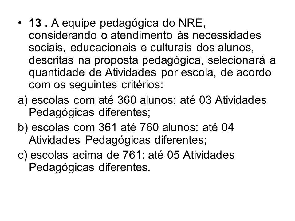 13 . A equipe pedagógica do NRE, considerando o atendimento às necessidades sociais, educacionais e culturais dos alunos, descritas na proposta pedagógica, selecionará a quantidade de Atividades por escola, de acordo com os seguintes critérios: