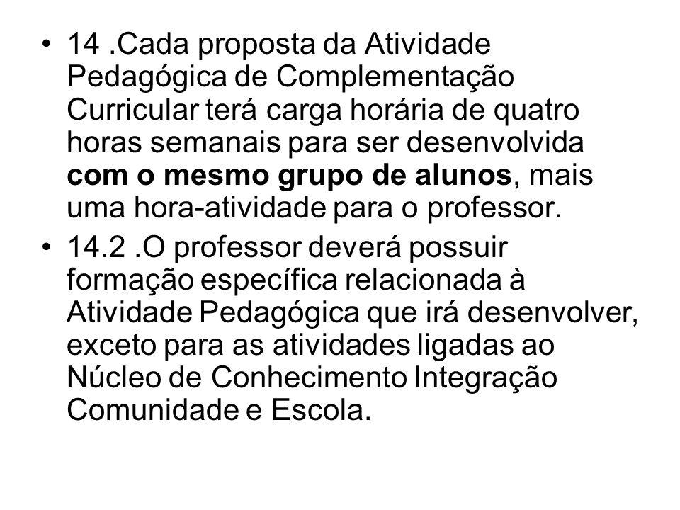 14 .Cada proposta da Atividade Pedagógica de Complementação Curricular terá carga horária de quatro horas semanais para ser desenvolvida com o mesmo grupo de alunos, mais uma hora-atividade para o professor.