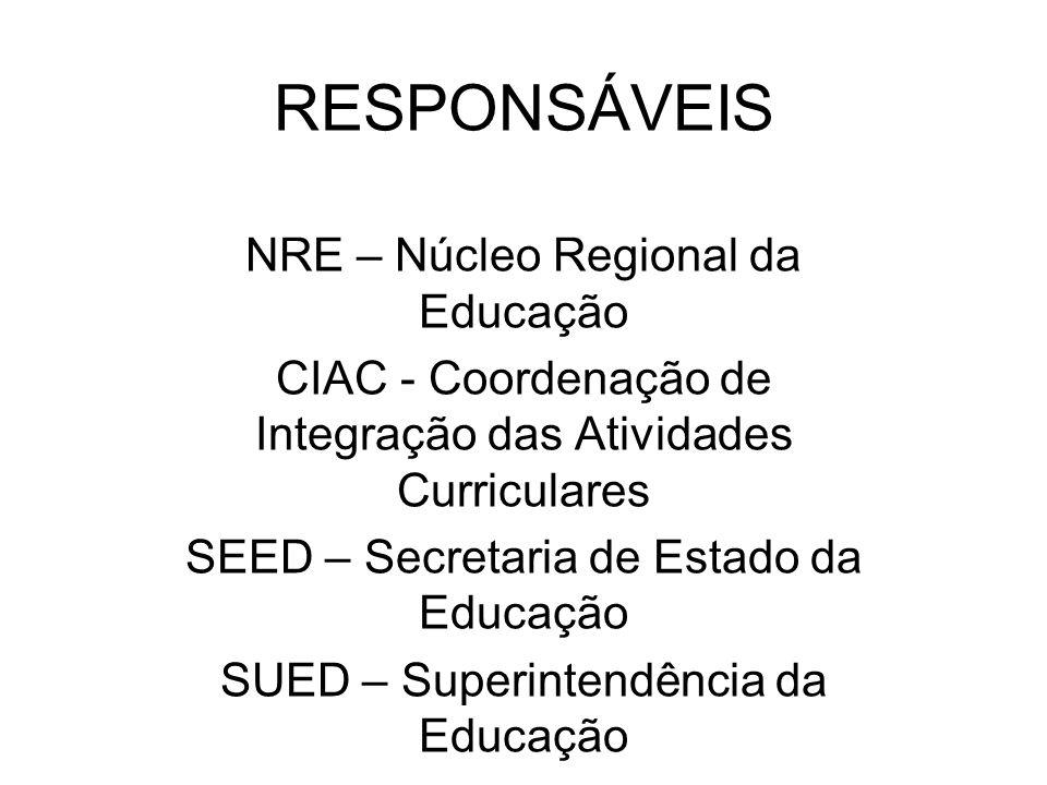 RESPONSÁVEIS NRE – Núcleo Regional da Educação