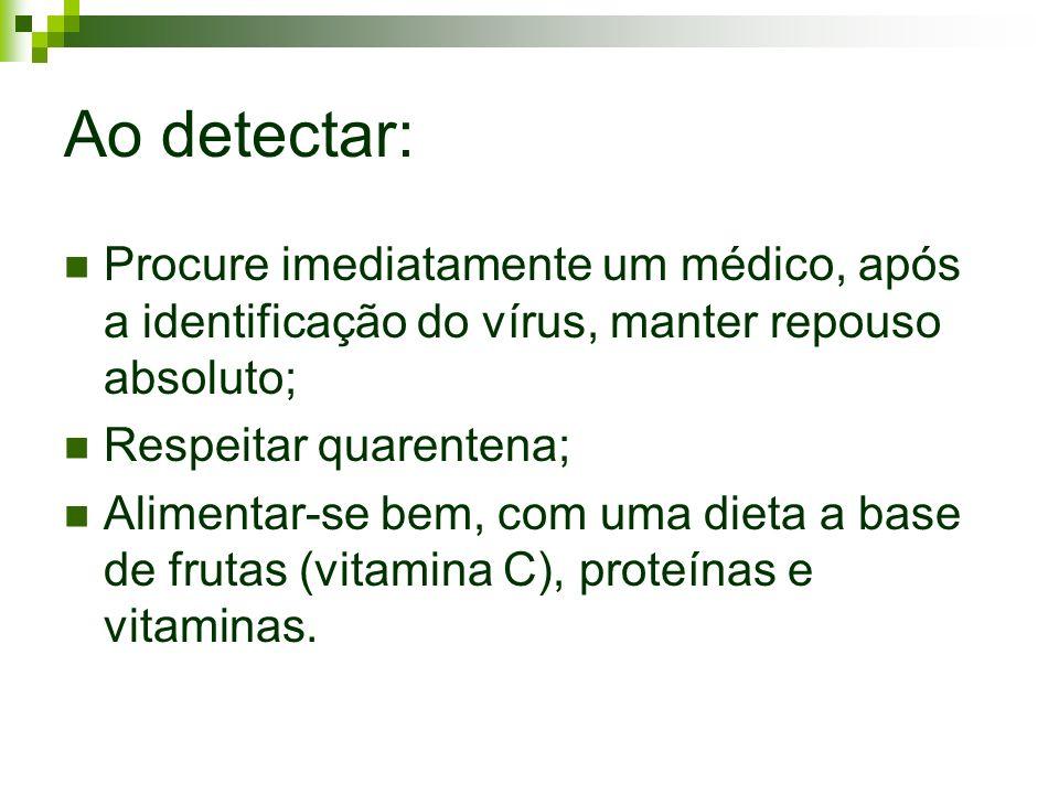 Ao detectar: Procure imediatamente um médico, após a identificação do vírus, manter repouso absoluto;