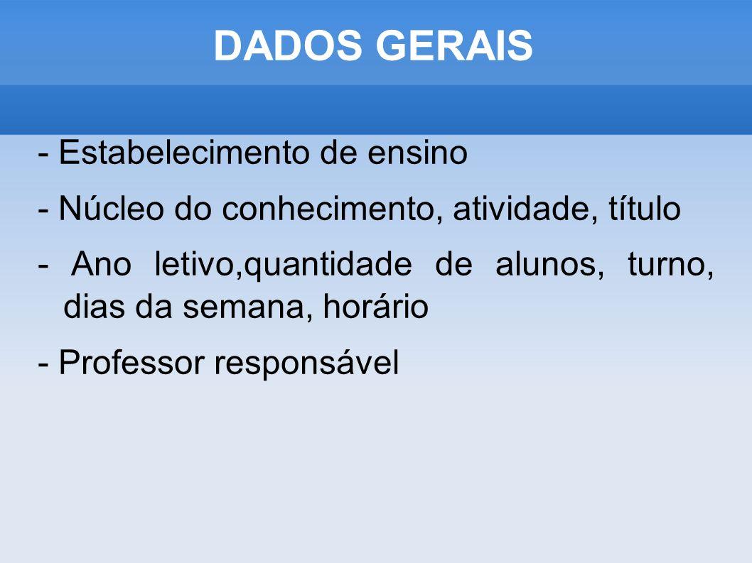 DADOS GERAIS - Estabelecimento de ensino