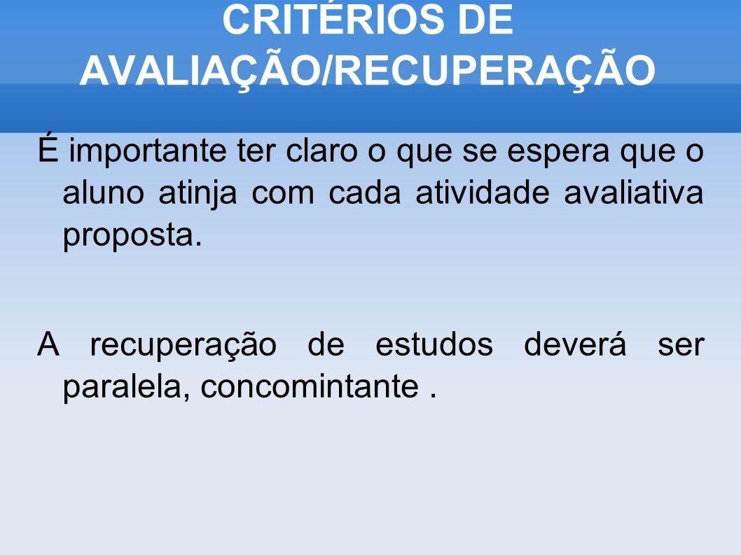 CRITÉRIOS DE AVALIAÇÃO/RECUPERAÇÃO