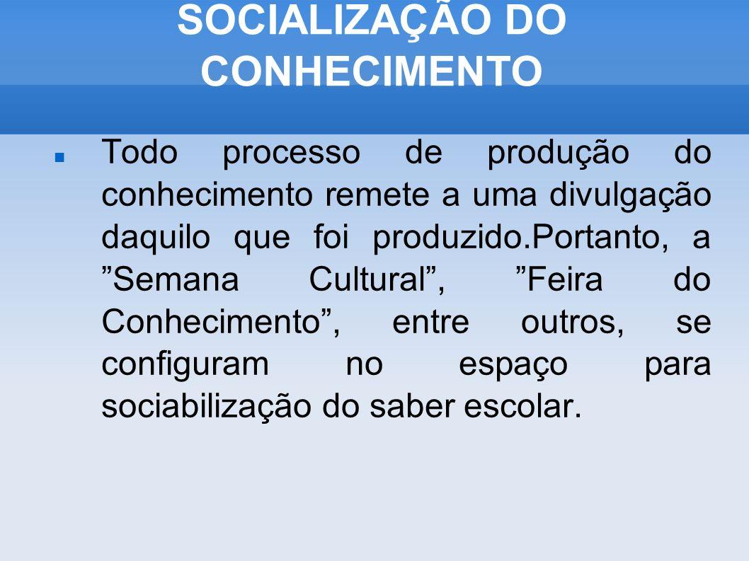 SOCIALIZAÇÃO DO CONHECIMENTO
