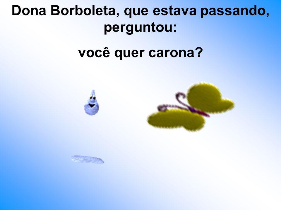 Dona Borboleta, que estava passando, perguntou: