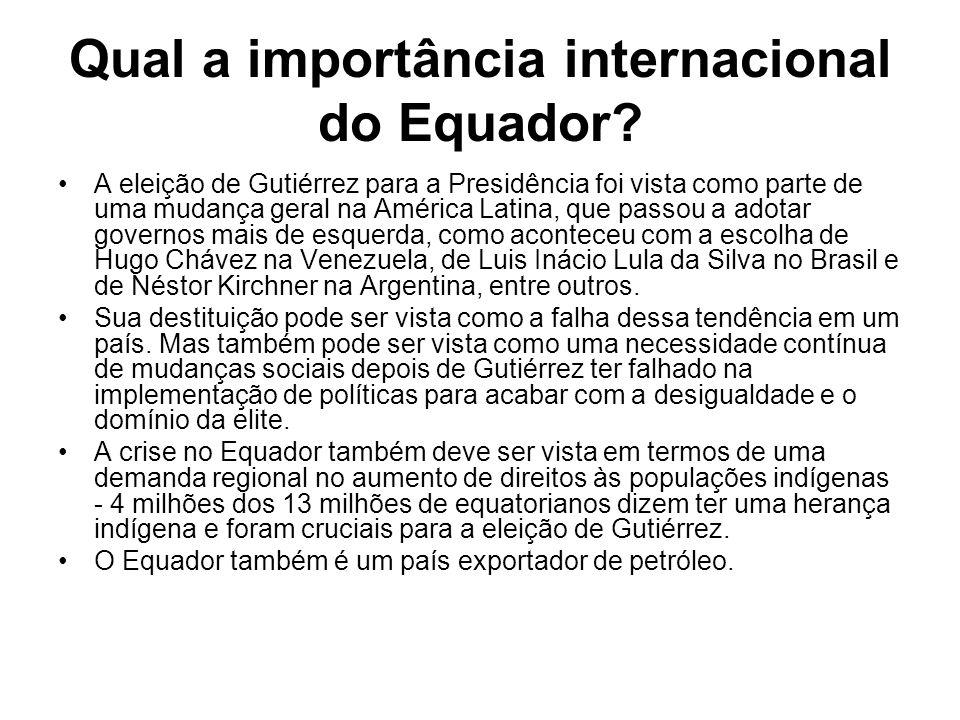 Qual a importância internacional do Equador