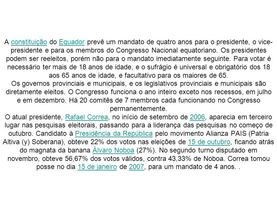 A constituição do Equador prevê um mandato de quatro anos para o presidente, o vice-presidente e para os membros do Congresso Nacional equatoriano.