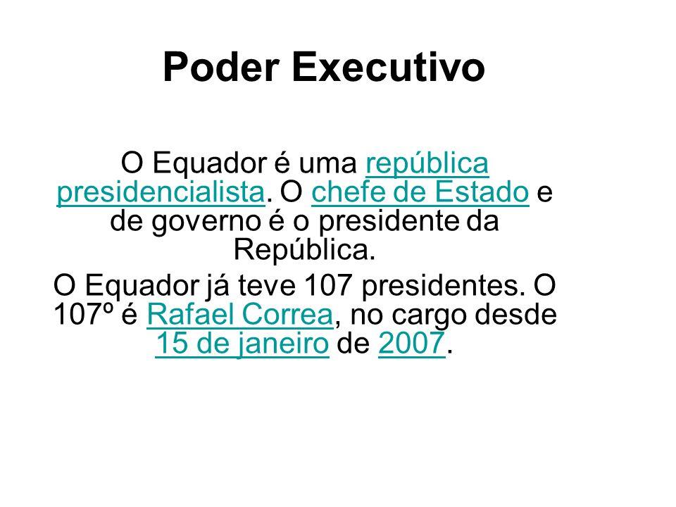 Poder ExecutivoO Equador é uma república presidencialista. O chefe de Estado e de governo é o presidente da República.