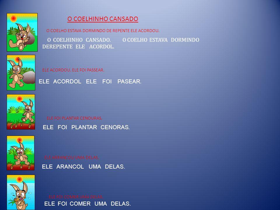 O COELHINHO CANSADO O COELHO ESTAVA DORMINDO DE REPENTE ELE ACORDOU.