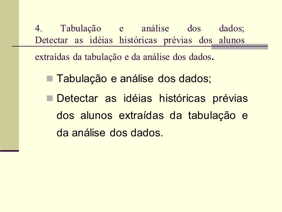 Tabulação e análise dos dados;