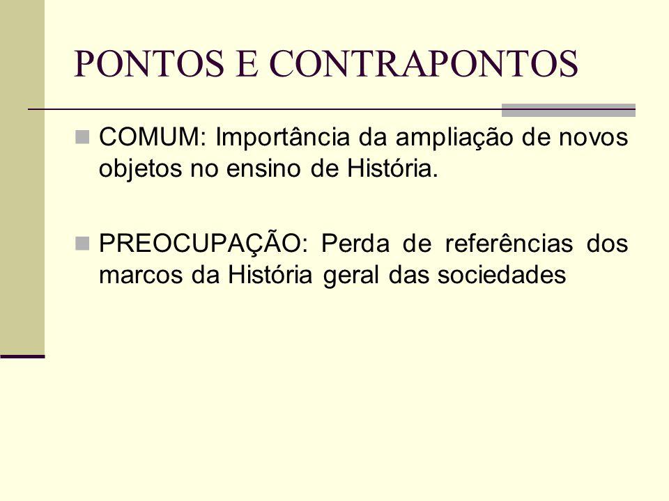 PONTOS E CONTRAPONTOS COMUM: Importância da ampliação de novos objetos no ensino de História.