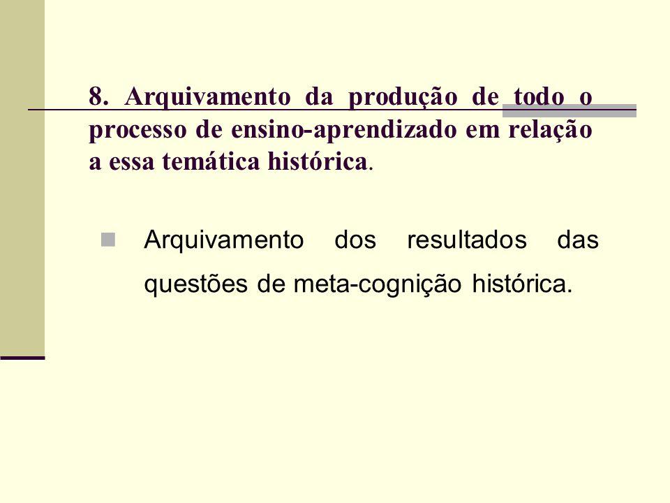 8. Arquivamento da produção de todo o processo de ensino-aprendizado em relação a essa temática histórica.