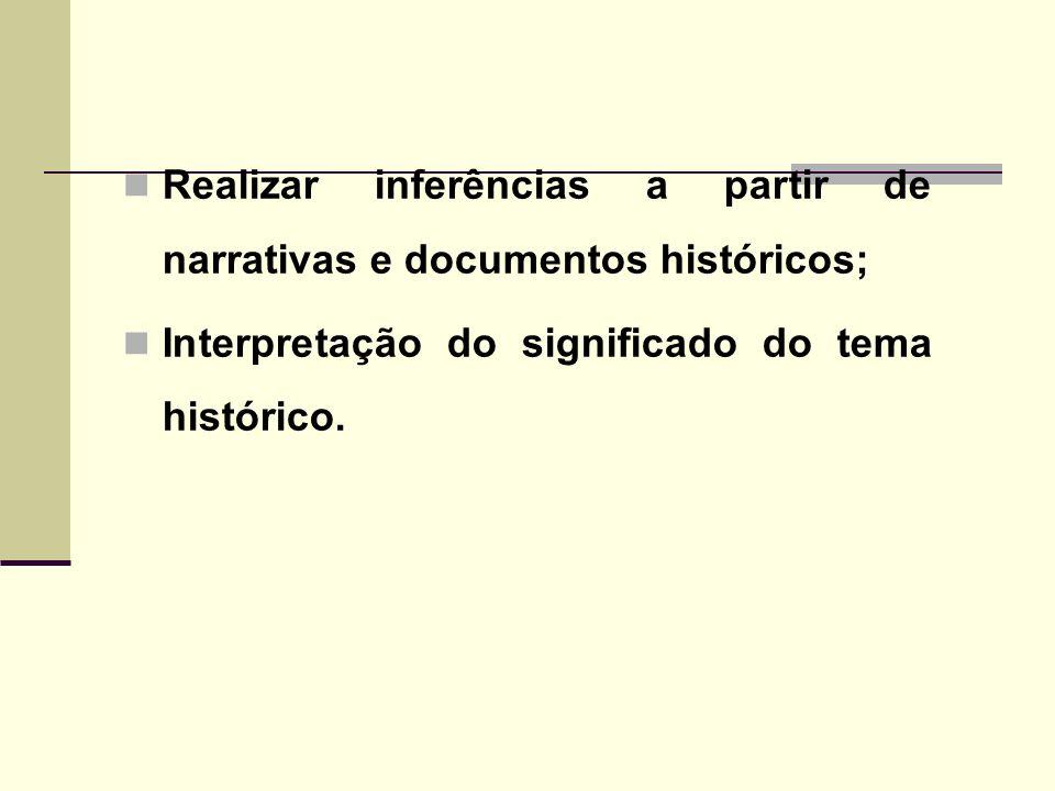 Realizar inferências a partir de narrativas e documentos históricos;