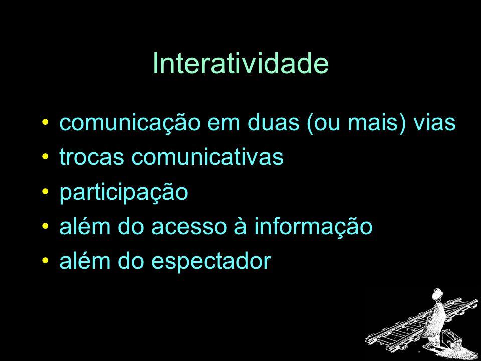 Interatividade comunicação em duas (ou mais) vias trocas comunicativas