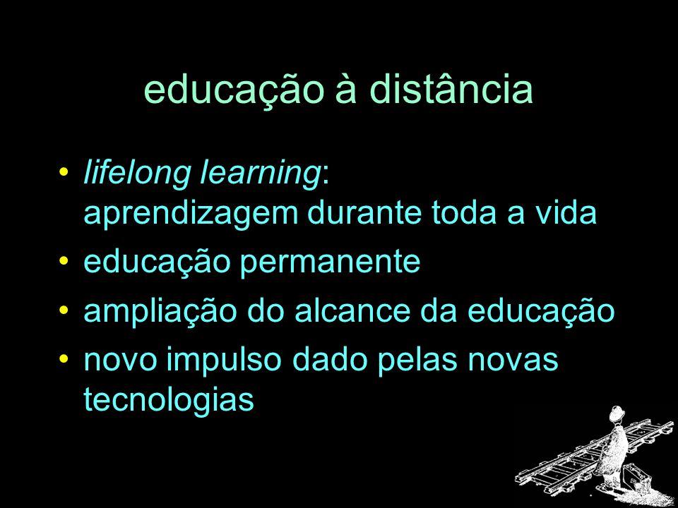 educação à distância lifelong learning: aprendizagem durante toda a vida. educação permanente. ampliação do alcance da educação.