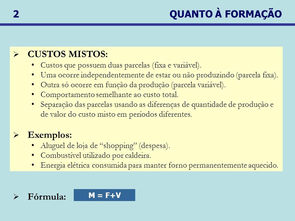 2 QUANTO À FORMAÇÃO CUSTOS MISTOS: Exemplos: Fórmula: