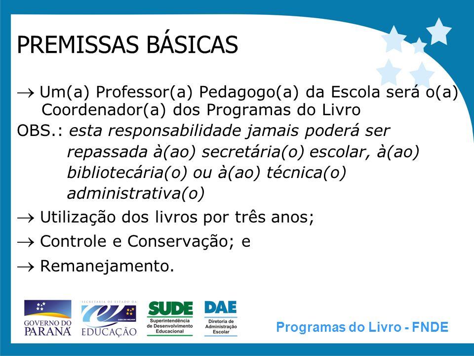 PREMISSAS BÁSICAS  Um(a) Professor(a) Pedagogo(a) da Escola será o(a) Coordenador(a) dos Programas do Livro.