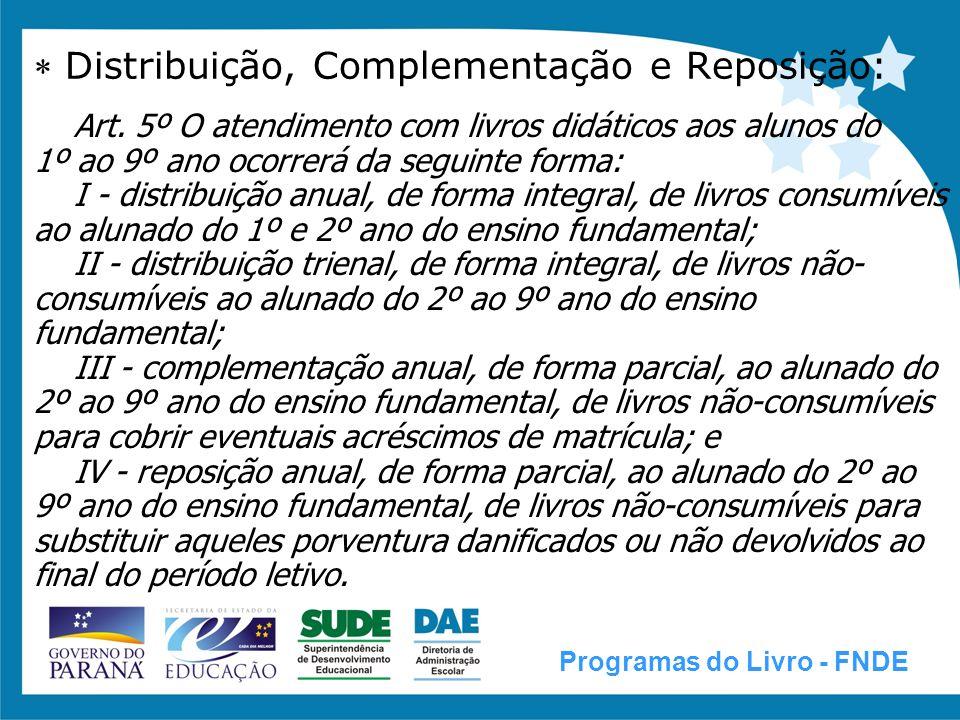  Distribuição, Complementação e Reposição: