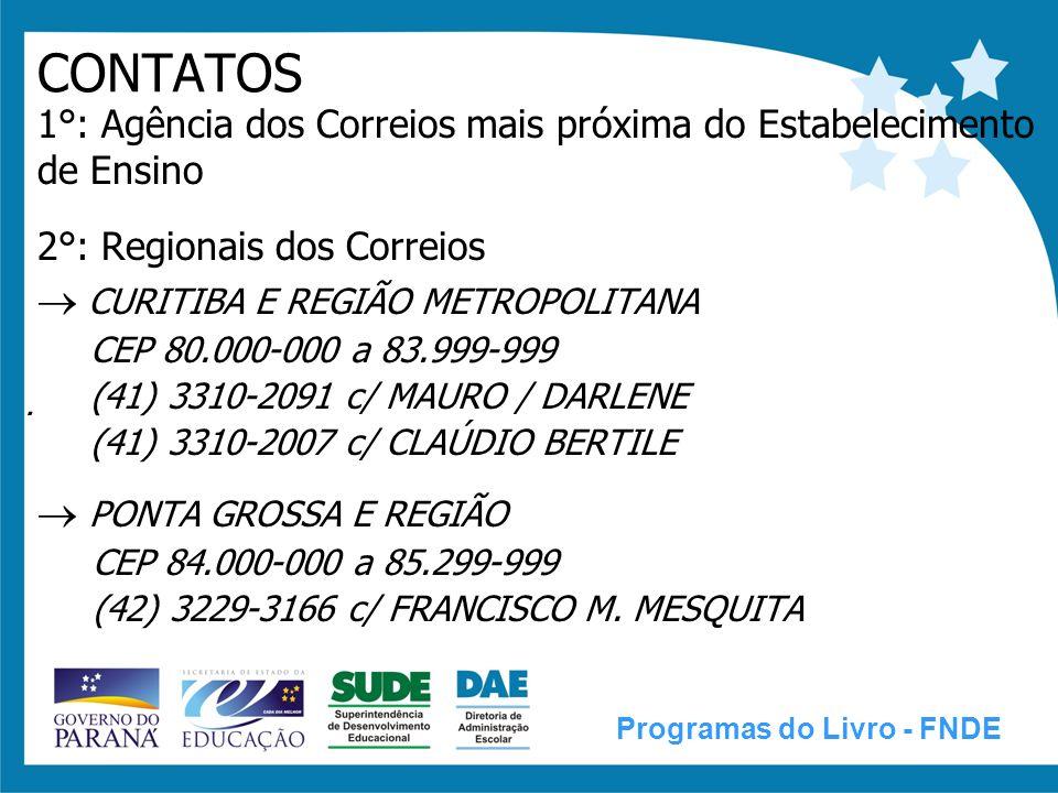 CONTATOS  CURITIBA E REGIÃO METROPOLITANA  PONTA GROSSA E REGIÃO