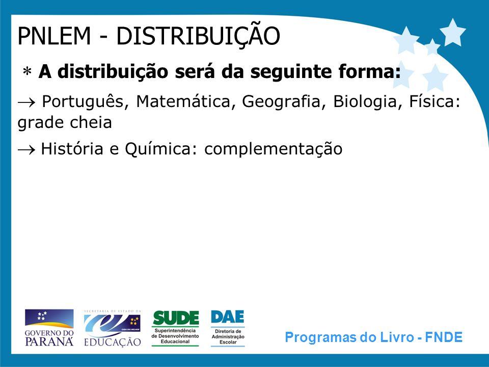 PNLEM - DISTRIBUIÇÃO A distribuição será da seguinte forma:  Português, Matemática, Geografia, Biologia, Física: grade cheia.