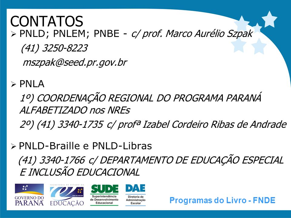 CONTATOS (41) 3250-8223 mszpak@seed.pr.gov.br